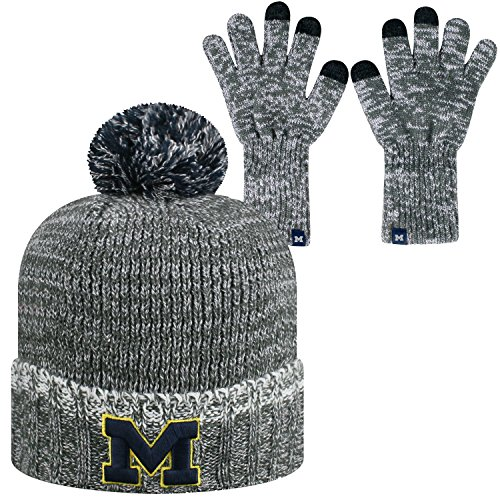 - Top of the World Michigan Wolverines Official NCAA Combo Frostbite Cuffed Stocking Stretch Knit Sock Hat Cap Beanie and Gloves 559506