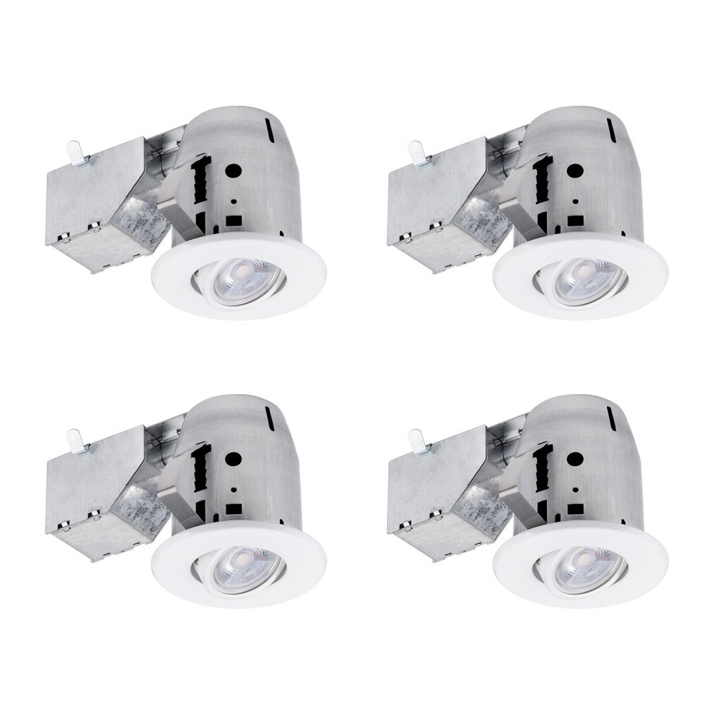 "Globe Electric 3"" LED IC Rated Swivel Round Trim Recessed Lighting Kit 4-Pack, White Finish, Easy Install Push-N-Click Clips, Bulbs Included, 3.25"" Hole Size 90718"