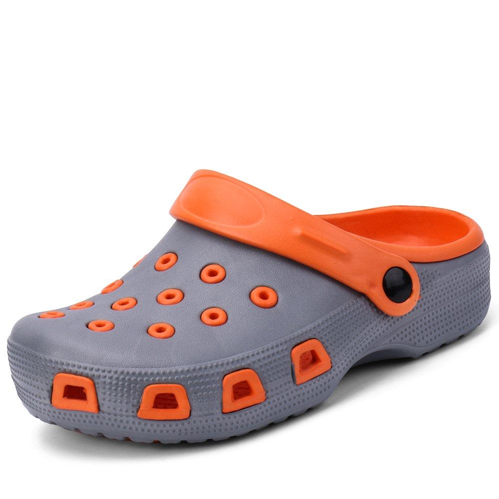 Zefani Kid's Non-Slip Summer Garden Clogs Cute Children Beach Slipper Sandals GrayOrange 12 M US Little Kid
