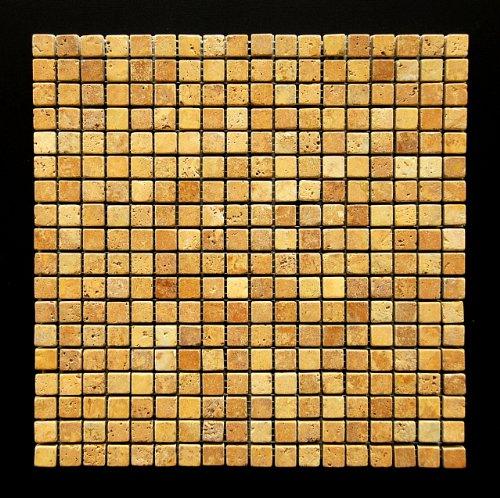 Mixed 5/8 X 5/8 Travertine Tumbled Mosaic Tiles