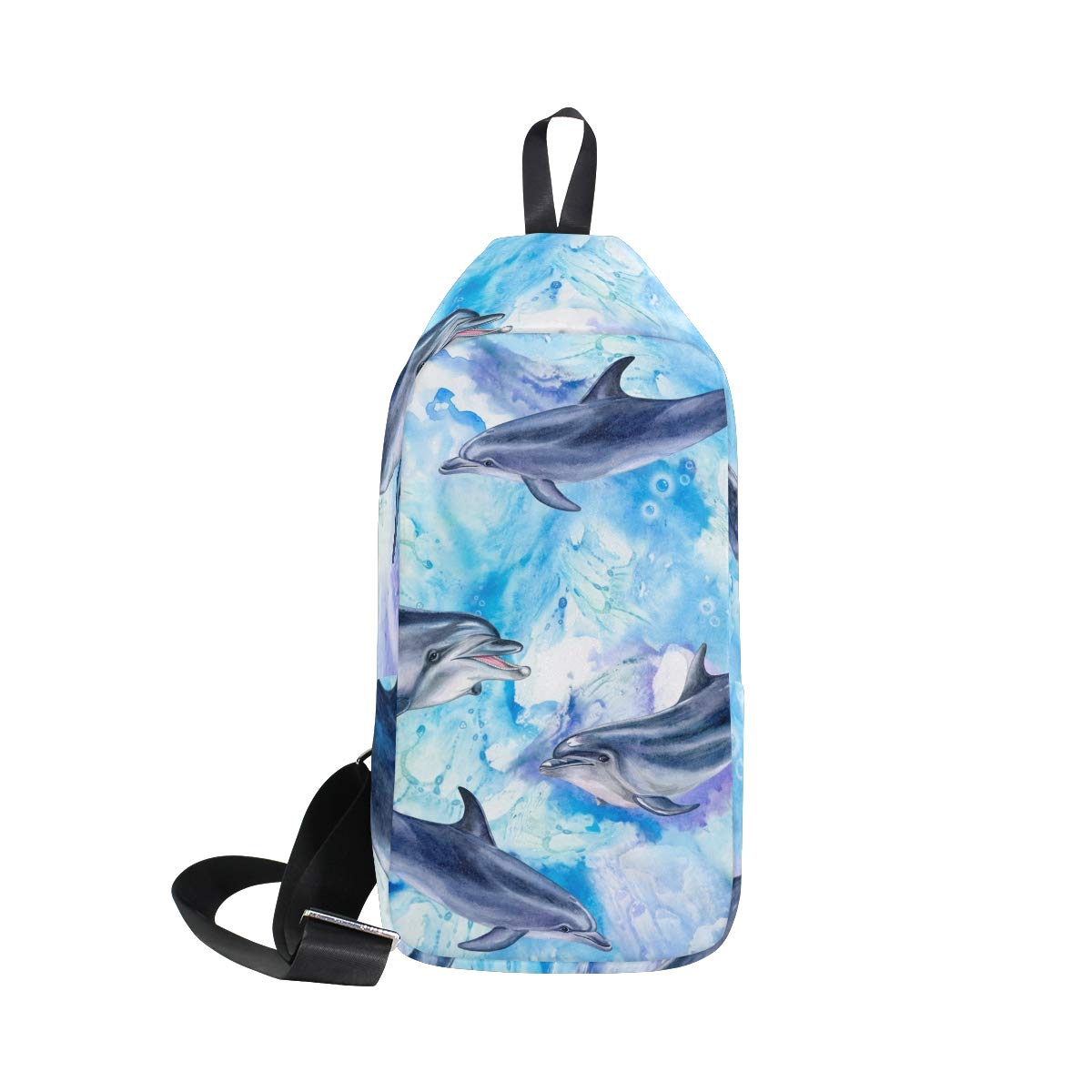 TFONE Watercolor Cute Dolphin Crossbody Bag Lightweight Chest Shoulder Messenger Pack Backpack Sling Bag