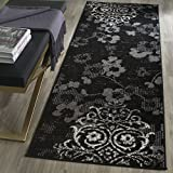 """Safavieh Adirondack Collection ADR114A Black and Silver Contemporary Chic Damask Runner (2'6"""" x 10')"""