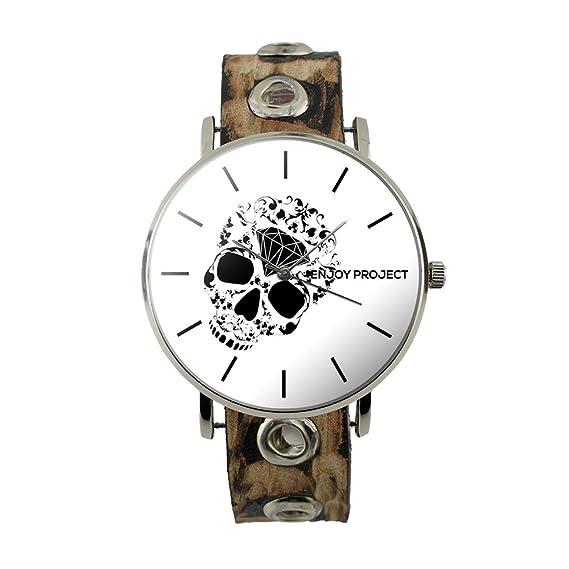 Reloj de pulsera para hombre Mujer Enjoy Project Impresión Calavera Negro con Diamante Diamond Skull caja plata correa de piel tachuelas analógica cuarzo: ...