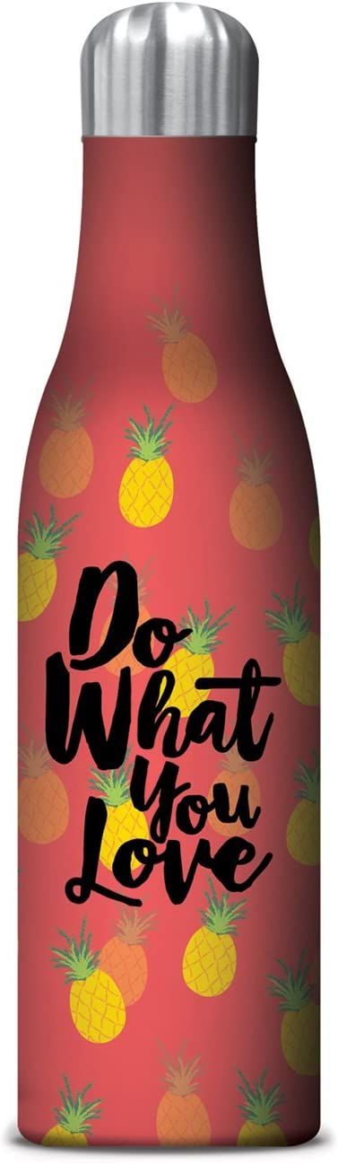 Studio Oh! 17 oz. Insulated Stainless Steel Water Bottle Available in 11 Different Designs, Do What You Love Pineapples