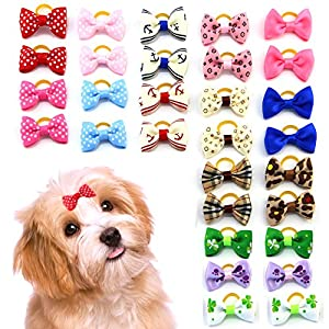 MEWTOGO 30 pcs/15 pairs Pet Hair Bows With Rubber Bands-Dog Hair Accessories with Different Pattern (rubber band)