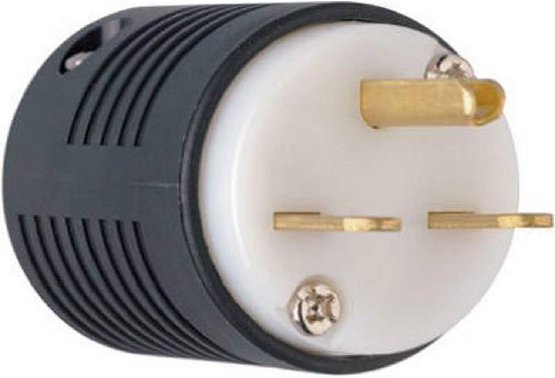 PASS & SEYMOUR ass & Seymour PS5666XCCV4 Double Pole 3-Wire Grounding Heavy Duty Straight Blade Plug, 250V, 15-Amp, Black/White