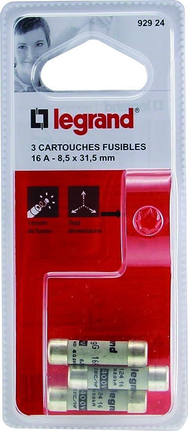 Legrand LEG92924 3 Cartouches Fusibles 16 A 8,5 x 31,5