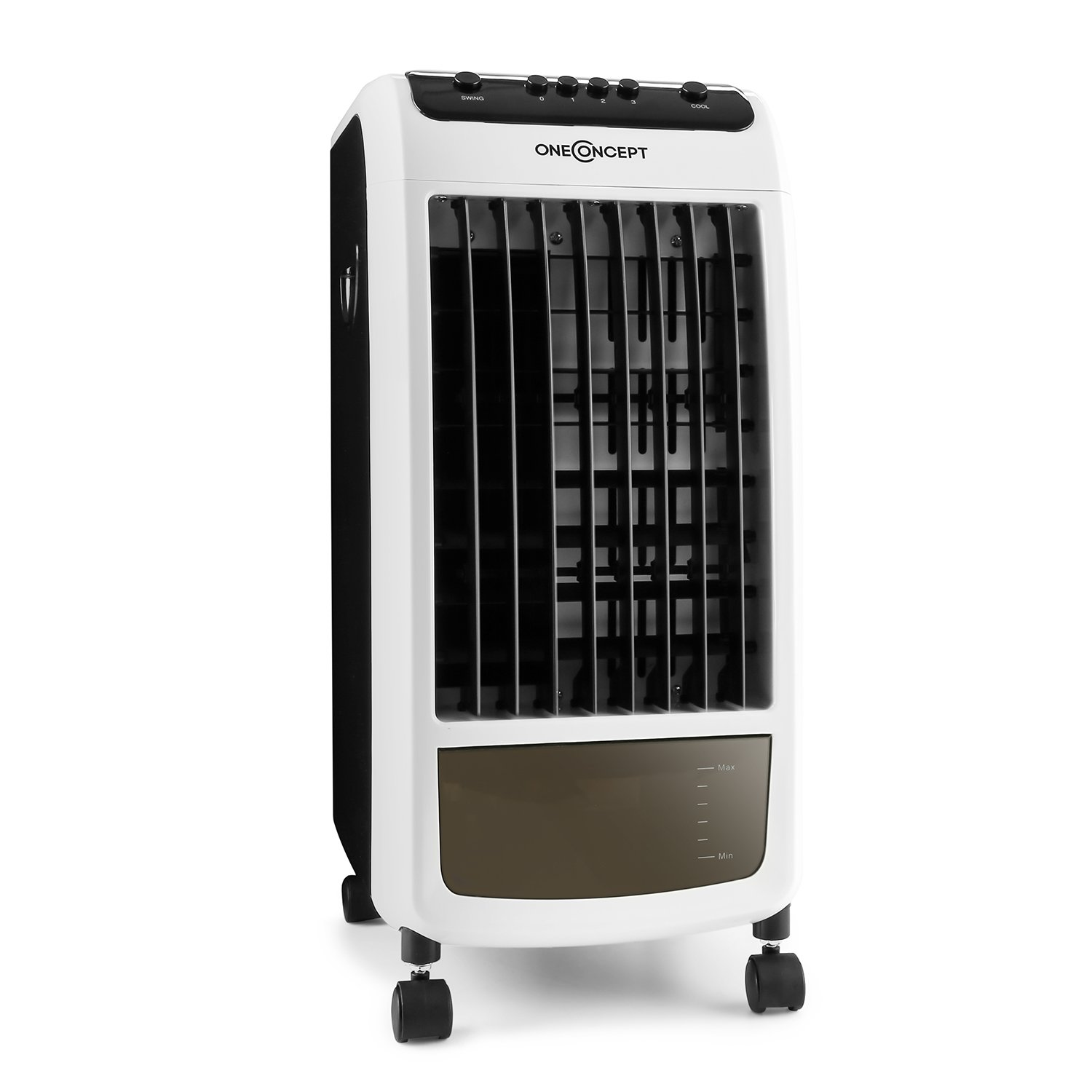 oneConcept Caribbean Blue 3-in-1 Combination Device • Air Cooler • Fan • Air Freshener • 70W • Fan with 3 Speed Levels • Moves up to 400m³ Air in One Hour • Environmental Friendly • Air Cooling by Water Evaporation • 6 Funtion Keys • Black/White ACO3-Carri