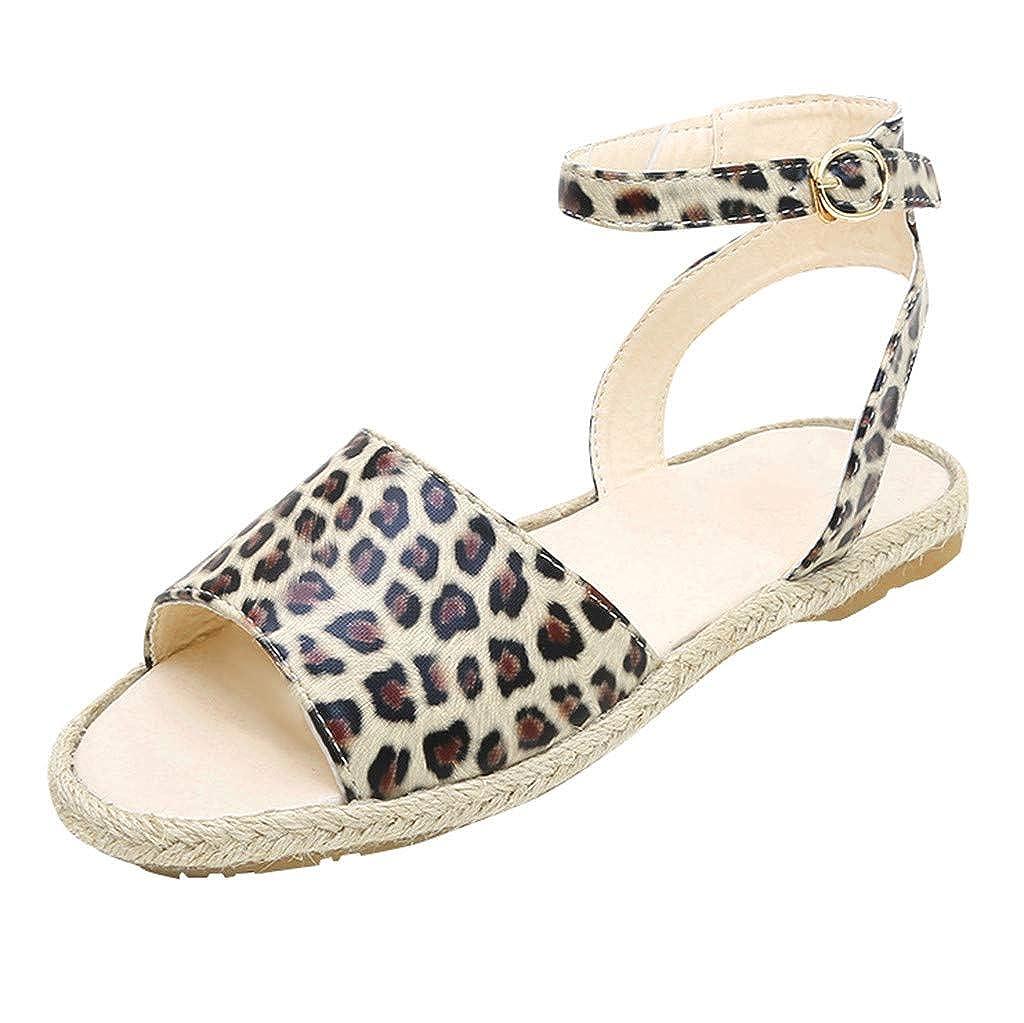 cureture Femmes Cheville Sangle Boucle LéOpard CompenséEs Plateforme Peep Toe Sandales Basses Robe D'éTé Sandales Rome Chaussures De Pompe