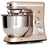 MURENKING Stand Mixer MK36 500W 5-Qt 6-Speed Tilt-Head Kitchen Food Mixer with Accessories (Champagne)