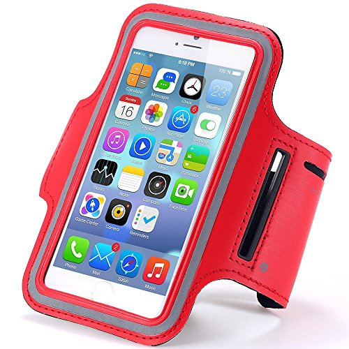 RiaTech™ Red Sports Gym Jogging Armband For Samsung Note 2 and 3, Iphone 6 and 6S, HTC,Sony, Intex, LG, Microsoft And All Compatible with Cellphones 5.7 Inch