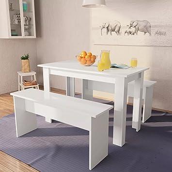festnight ensemble salle manger moderne 1 table et 2 bancs agglomr blanc