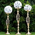 """Tableclothsfactory 25.5"""" Tall Metal Wedding Flower Decor Candle Holder Vase Centerpiece - Gold-2 Stands/ Set"""