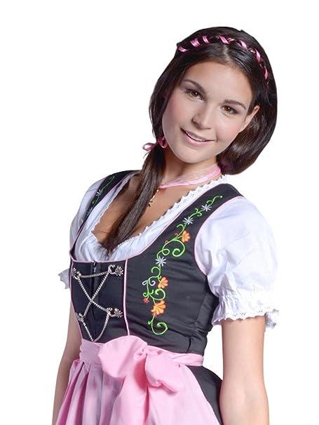 Traje tradicional de tirolesa Emily. Mini oa la altura de la rodilla, de color negro y rosa, tallas 32-46
