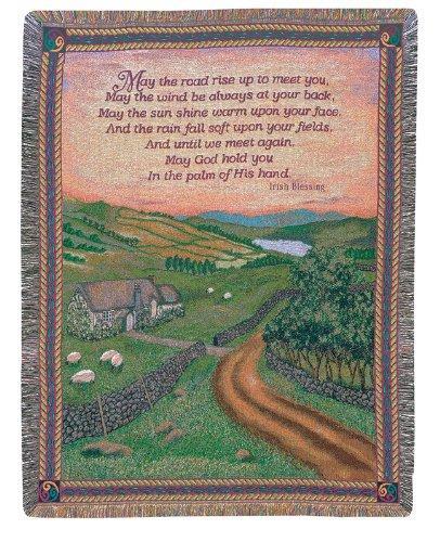 Manual Weavers Irish Blessing Emerald Isle Countryside Tapestry Throw Blanket 50