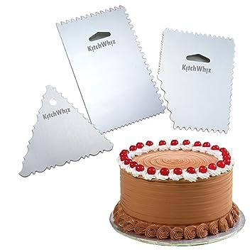 Pack de 3 – decoración de pasteles peine – PREMIUM CALIDAD aluminio más suave de repostería
