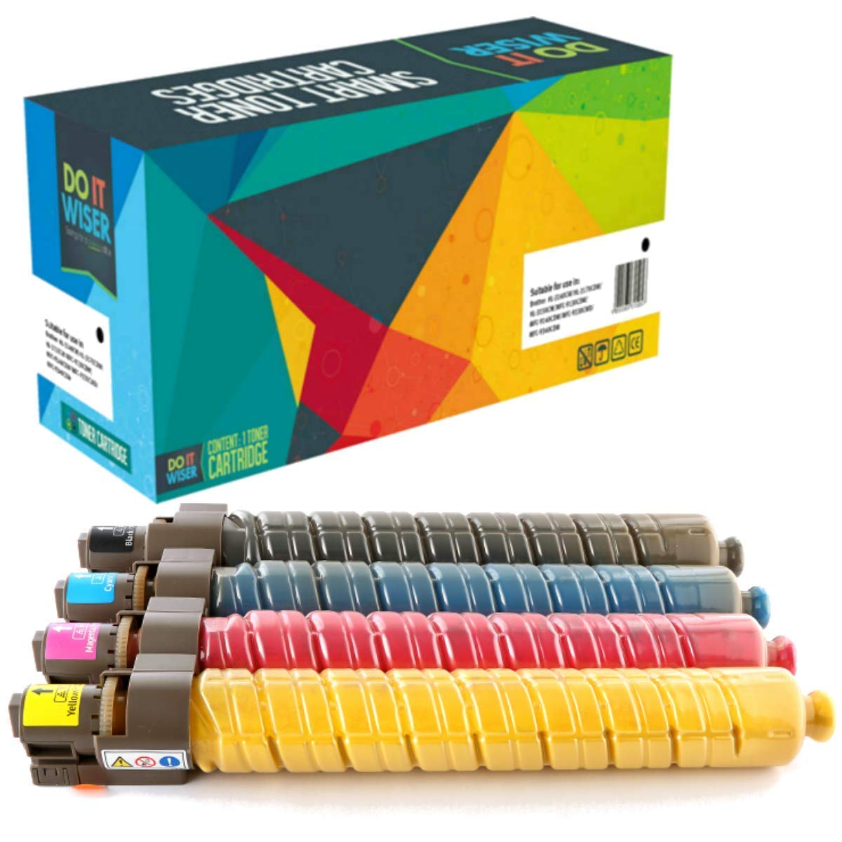841281 Compatible Replacement for Ricoh 841280 841282 841283 Four Pack of Color Toner Cartridges.