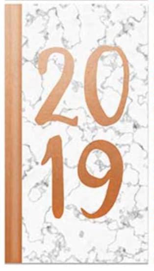 Agenda 2019 semana a vista acolchada con tapa dura Slimline – efecto mármol de lámina dorada