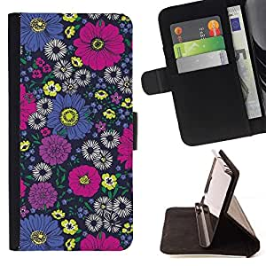 For Sony Xperia Z3 Plus / Z3+ / Sony E6553 (Not Z3) Case , Diseño floral rosado del papel pintado de la vendimia- la tarjeta de Crédito Slots PU Funda de cuero Monedero caso cubierta de piel