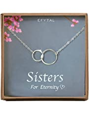 EFYTAL Sister Gifts from Sister Necklace in Sterling Silver, Birthday Gifts Sister Jewelry, Older Younger