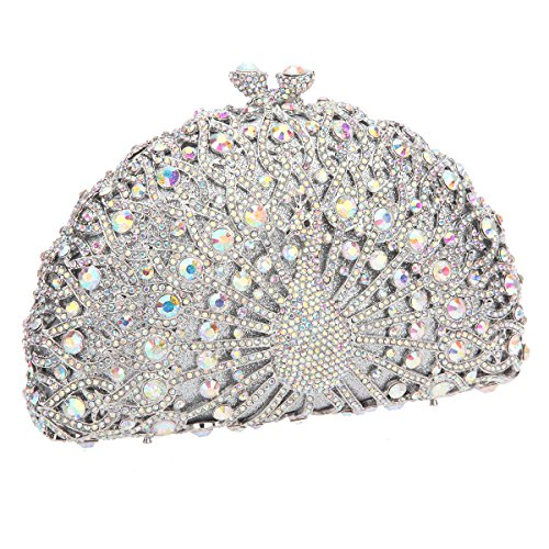 Clutch Girls Glitter Crystal Evening Black Bonjanvye Bag For Ab Silver Peacock dUtXUxR