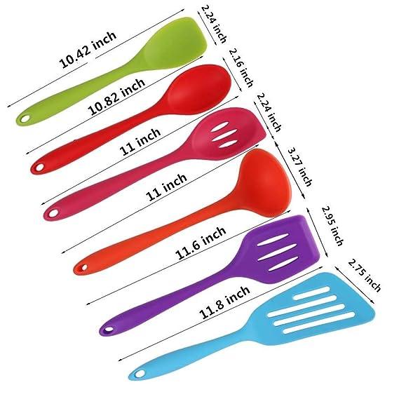 Juego de utensilios de cocina - 6 utensilios de cocina - los mejores utensilios de cocina coloridos - Gel de sílice no pegajoso, fácil de usar y de limpiar: ...