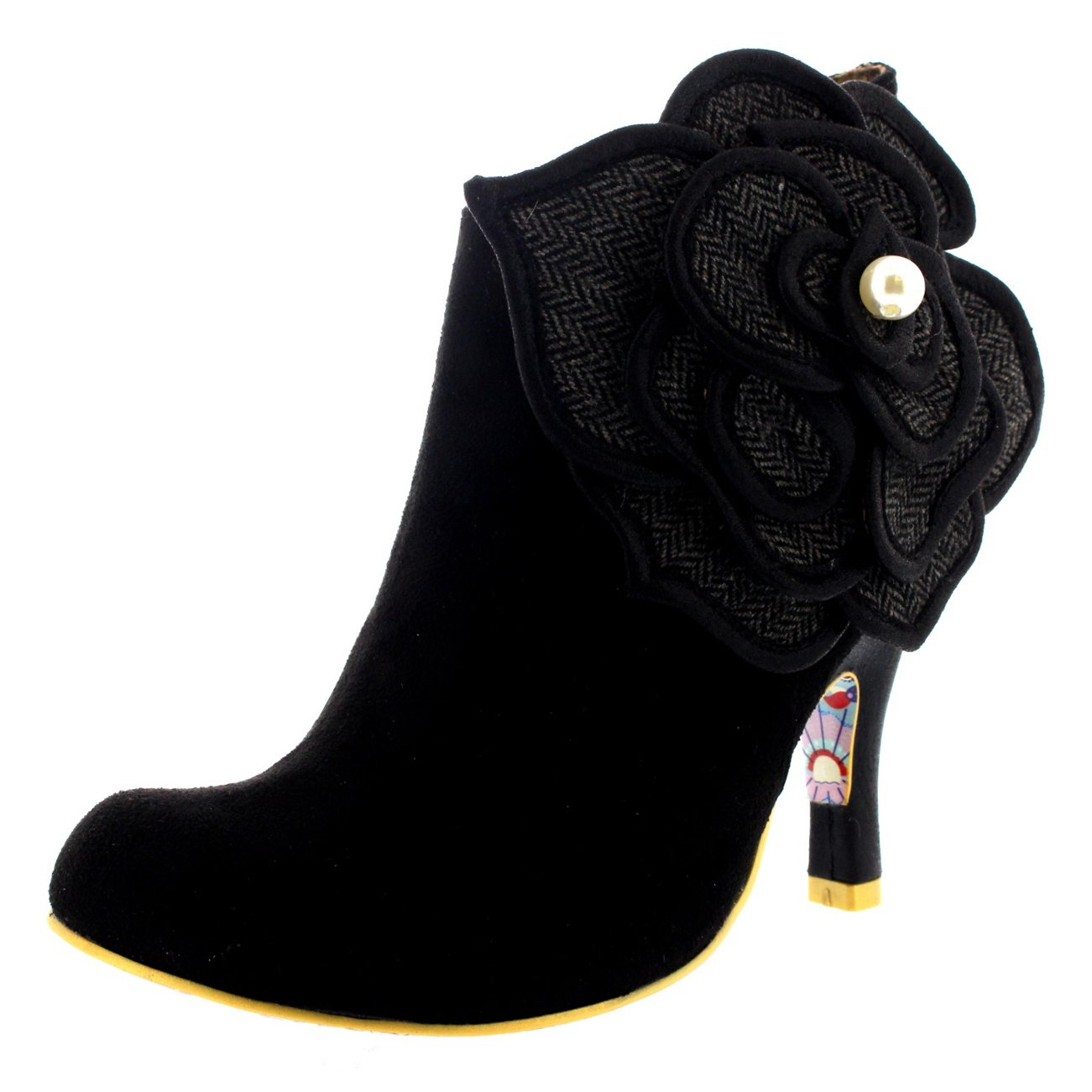 Womens Irregular Choice Pearl Necture Zip High Heel Evening Ankle Boot - Black - 6.5
