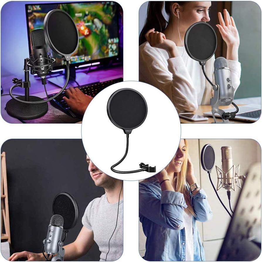 SCOBUTY Microphone Filtre Pop /Écran Anti-vent /à Double Couche avec Bras Flexible Clip /à Col de Cygne /à 360 degr/és Professionnel Compatible avec Y/éti Bleu et Tout autre Mic Filtre Anti-Pop