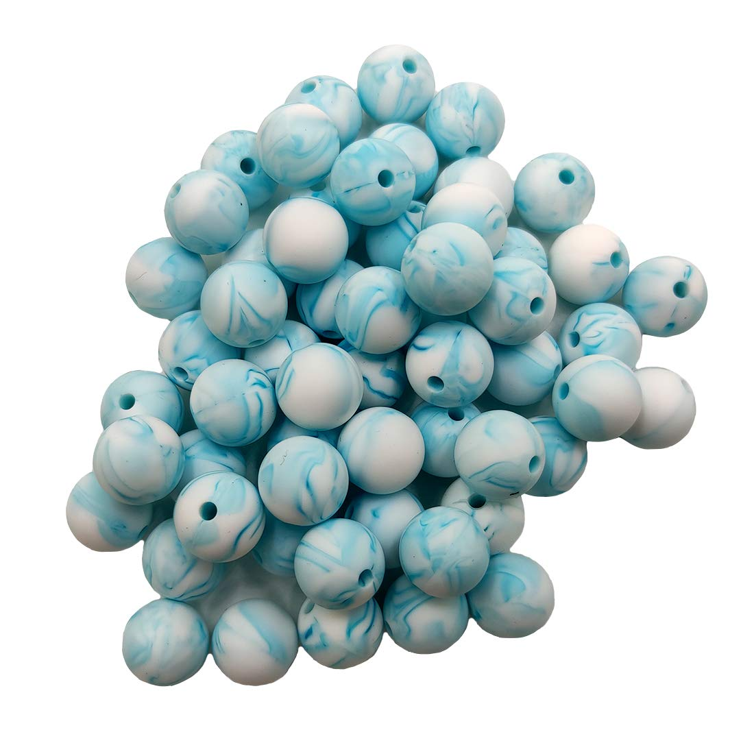 50pcs Marble Teal Color Silicone Round Beads Sensory 15mm Silicone Pearl Bead Bulk Mom Necklace DIY Jewelry Making Decoration