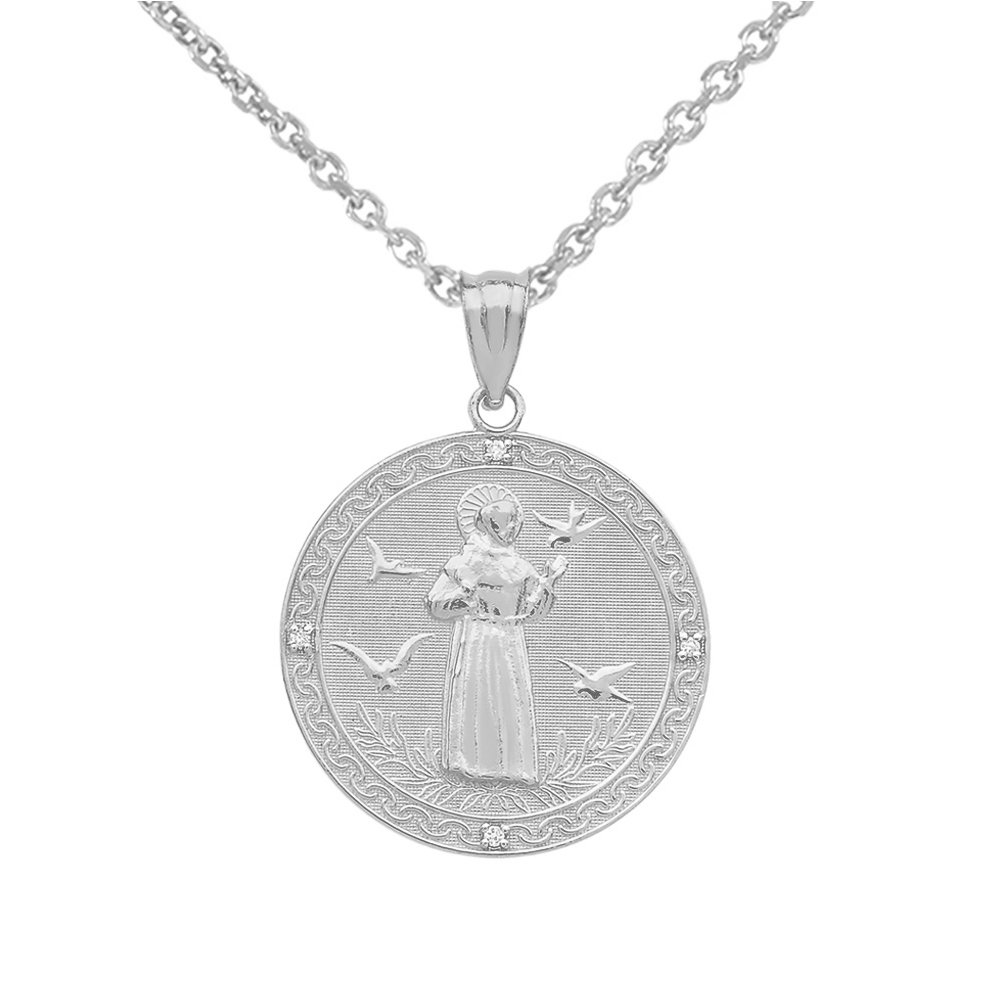 ab5c5e35940 Amazon.com: Sterling Silver Saint Francis Of Assisi CZ Round Medal Charm  Necklace (Small), 16
