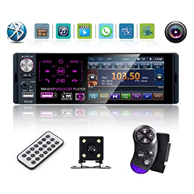 Multimedia Car Stereo- Single Din,4.1 Inch Touch Screen Car Stereo Bluetooth Audio and Hands-Free Calling,Rear Microphone Input,MP5 Player, AUX Input, RearViewCamera,AM/FM/RDS Radio Receiver: Car Electronics