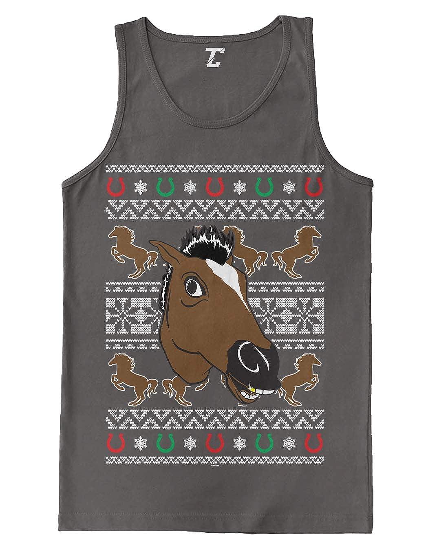 Funny Xmas Ugly Christmas Mens Tank Top Horse Mask