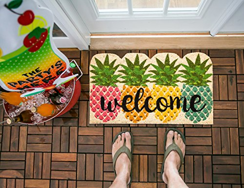 Evergreen Flag Colorful Pineapples Natural Coconut Fiber Coir Floor Mat, 28 x 16 inches