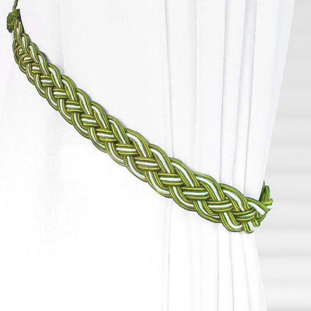 (Green) - Ayygift1 Pair Vintage Knitted Curtain Rope Buckle Decorative Tiebacks (green)  グリーン B00OMWBICG