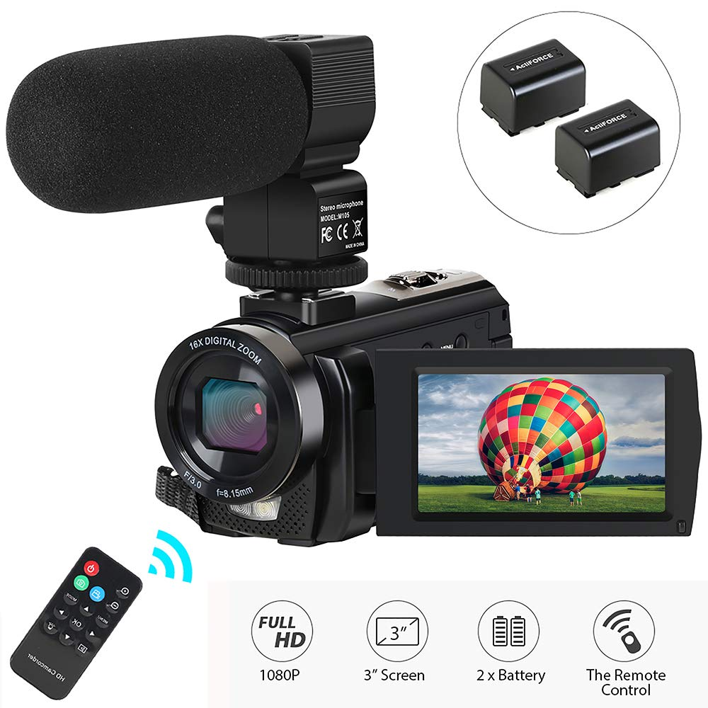 Video Camera Camcorder,Digital Camera Recorder with Microphone 1080P 30FPS 24MP 3'' LCD 270 Degrees Rotatable Screen 16X Digital Zoom YouTube Vlogging Camera with Remote Control,2 Batteries