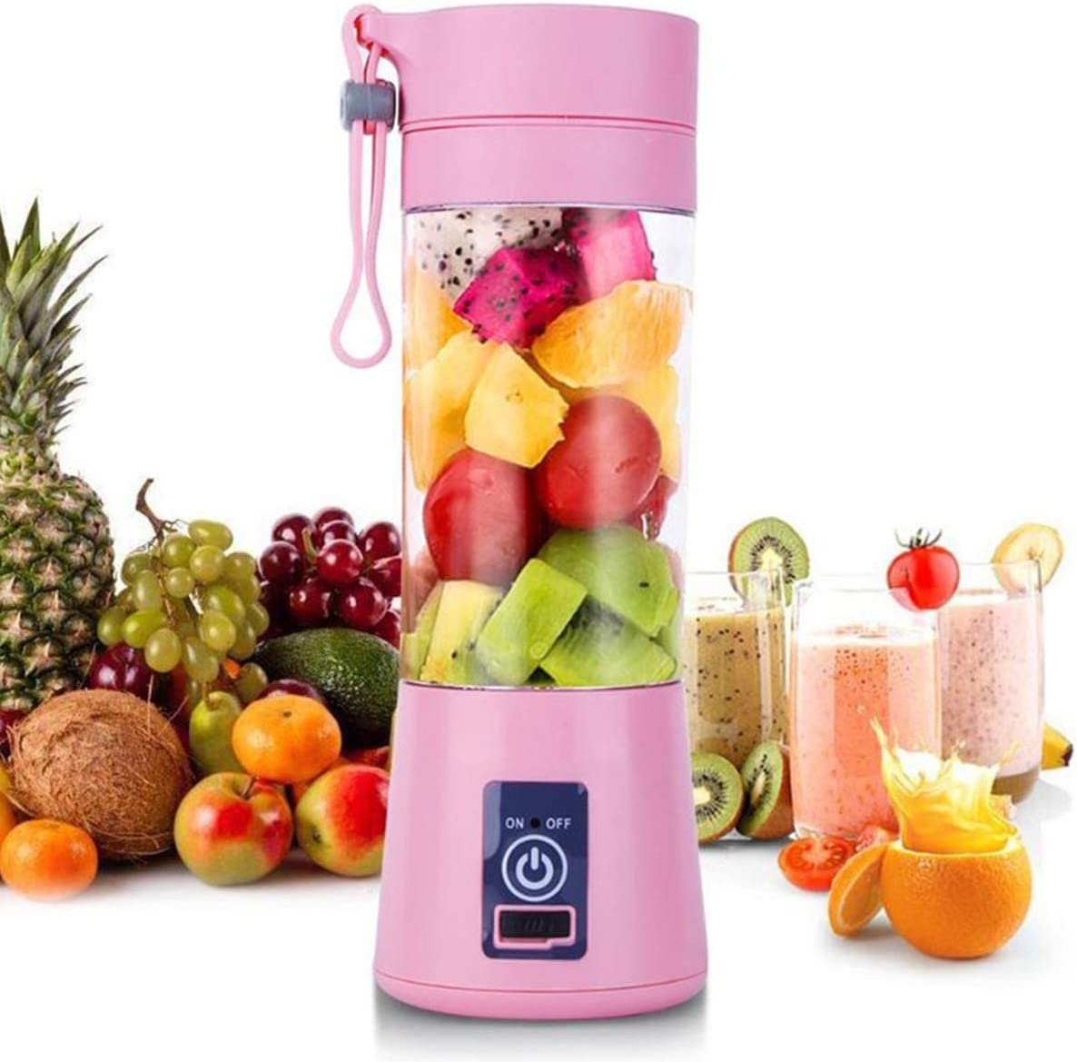 KINLOON JHX Portable Blender, Personal Size Blender Shakes and Smoothies Mini Jucier Cup USB Rechargeable Battery Strong Power Ice Blender Mixer Home Office Sports Travel Outdoors