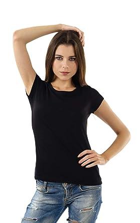 ede81eba7 Double F Round Neck Half Sleeve Plain T-Shirt for Women: Amazon.in ...