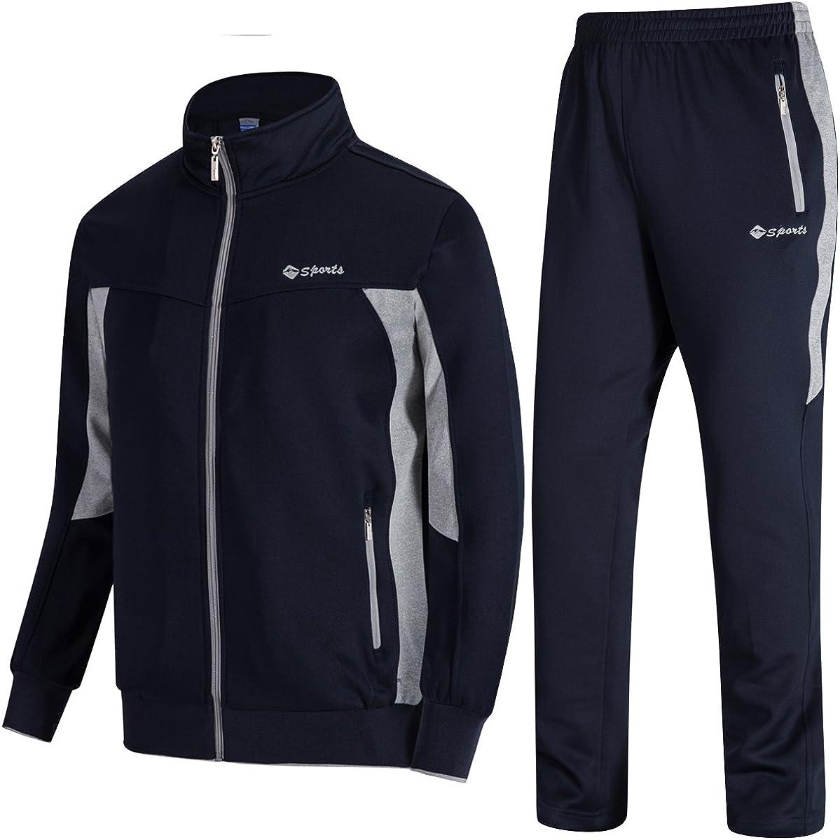 Gopune Mens Athletic Tracksuit Full Zip Warm Jogging Sweat Suits