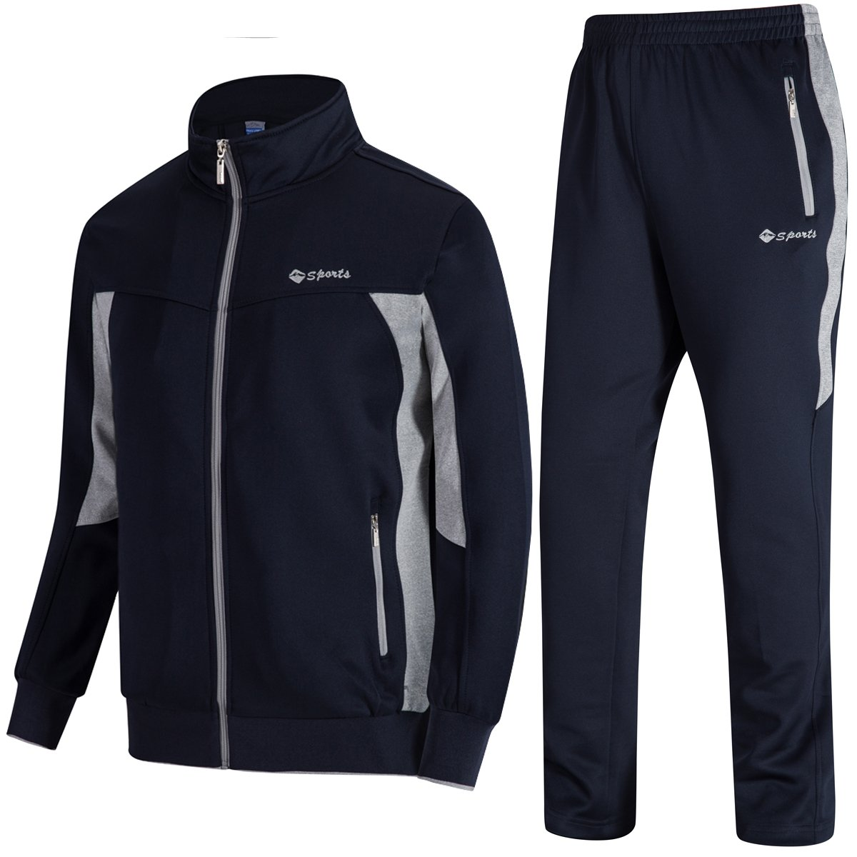 DUNKINBO Men's Athletic Tracksuit Full Zip Warm Jogging Sweat Suits (Blue grey,2XL)