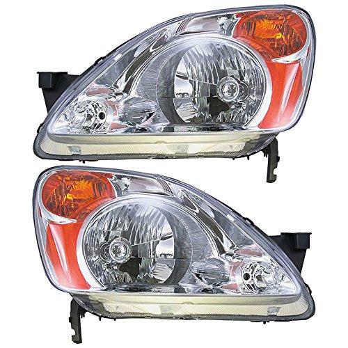Headlights Headlamps Left & Right Pair Set for 02-04 Honda CR-V