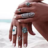Fashewelry Ring Set Bohemian Turquoise Joint Knuckle Nail Midi Ring Set of 6pcs