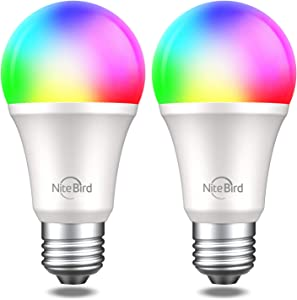 NiteBird Smart Bulb,WiFi Alexa Light Bulbs Dimmable 2Pack RGB Color Changing, A19 E26 8W Soft White (2700K), 60W Equivalent, 800 LM LED Light Bulbs with APP (Support Google Home and Siri)