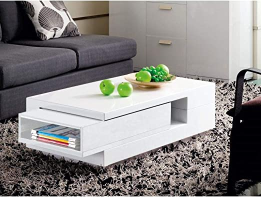 Mesa de Centro Blanca con cajón Expositor Bega 100 cm: Amazon.es ...