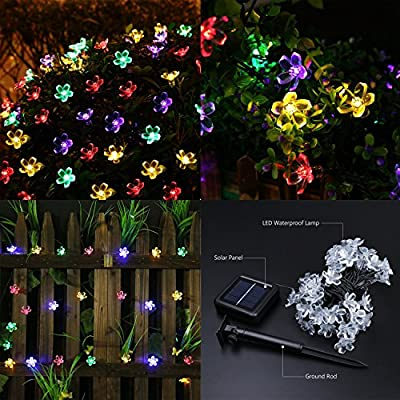 Neretva Solar String Lights--50 LED Fairy Blossom Flower Garden Lights Outdoor Solar String Lights Flower Bulbs for Christmas/Wedding/Party Backdrops Decorations