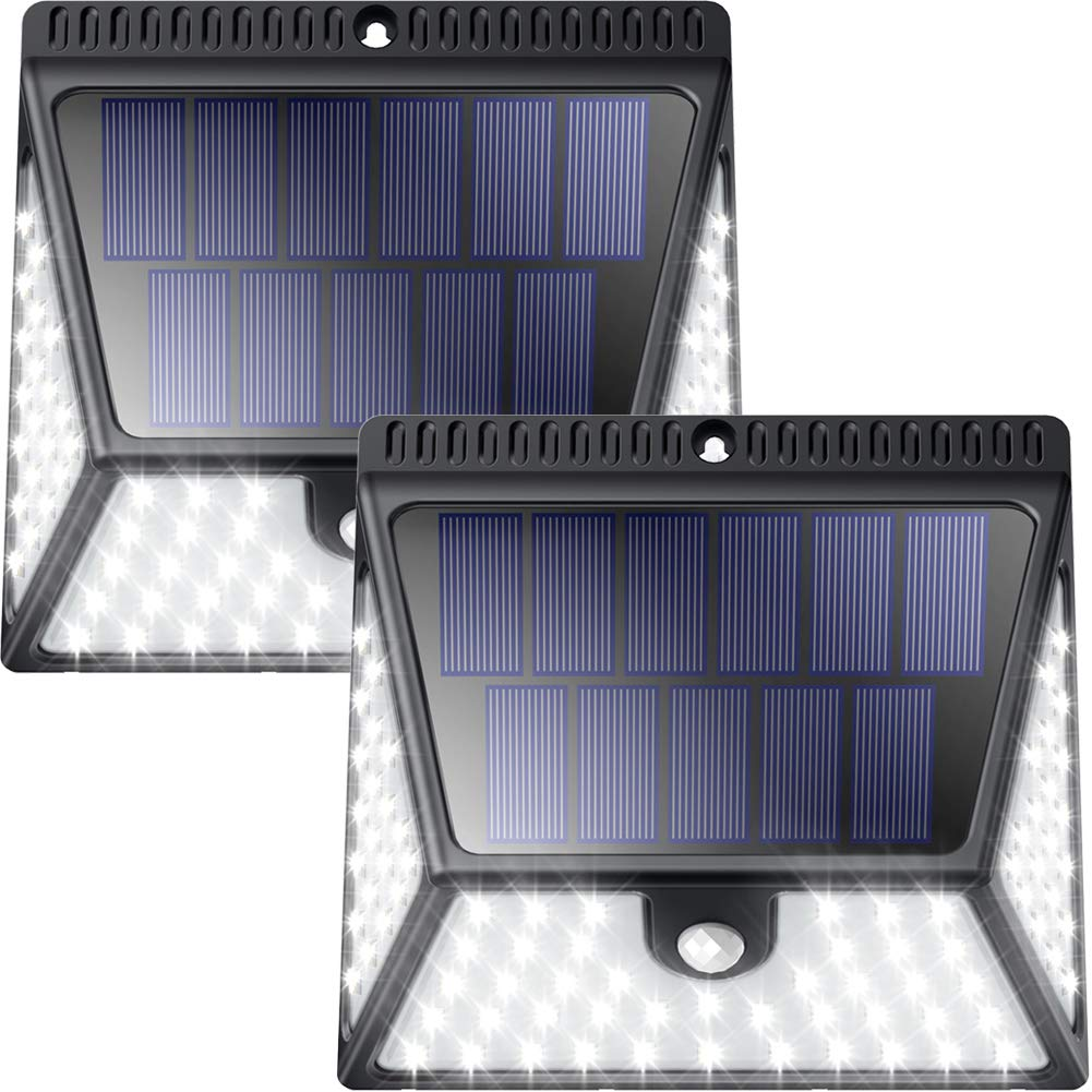 Solar Motion Sensor Lights Outdoor, Luposwiten 82 LED Super Bright Wireless Waterproof Solar Powered Security Wall Lights with Wide Angle Illumination for Front Door, Back Yard, Porch, Garage-2 Pack