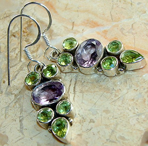 Sterling Silver Overlay (Designer .925 Sterling Silver Overlay Earrings with Genuine Amethyst and Peridot Gemstone)