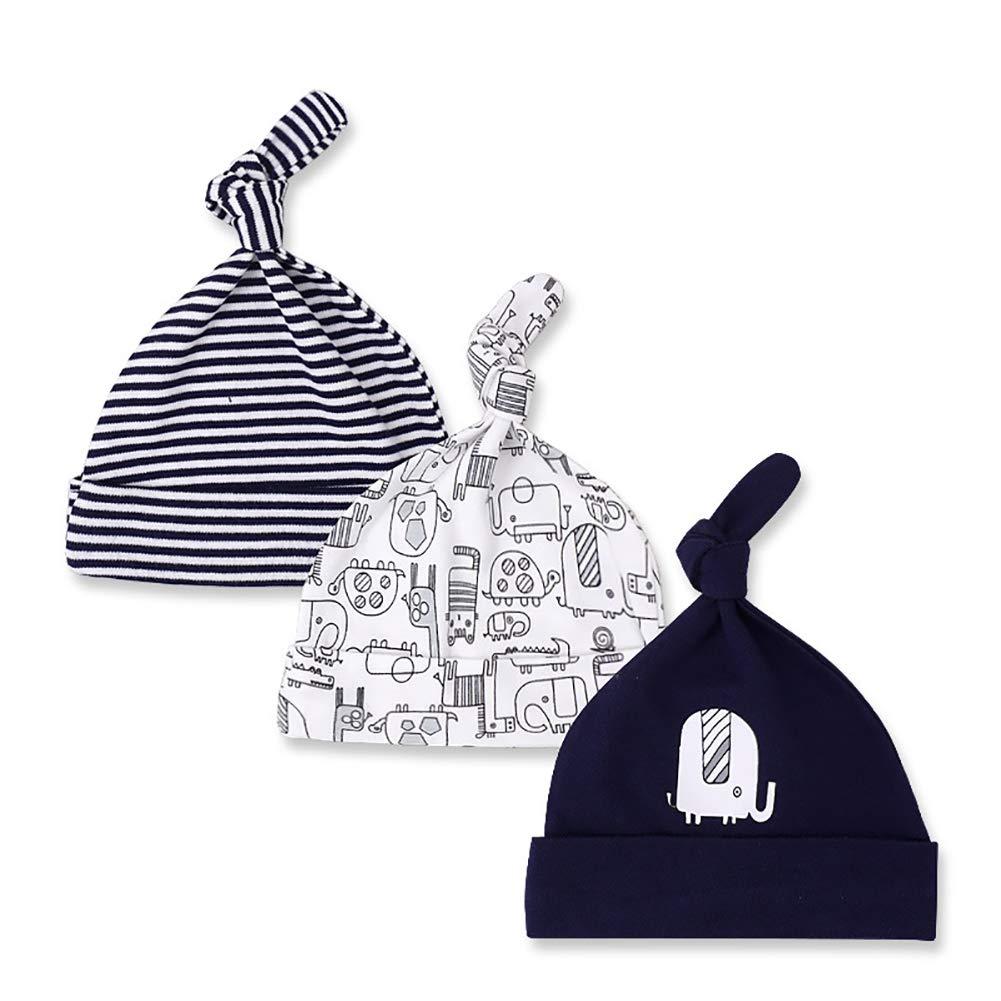 Tukistore Lot de 3 Chapeau Bonnet de Nouveau-n/é Coton Chapeau de C/ér/émonie Bonnet de Naissance en Coton pour 0-6 Mois B/éb/é Fille Gar/çon
