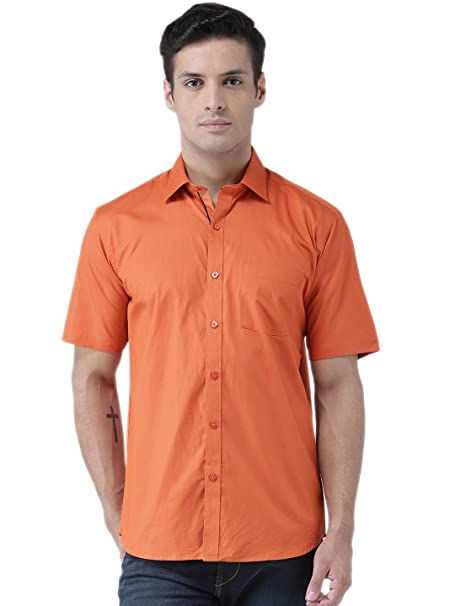 a62e89d4b4e Zeal Half Sleeve Shirt for Men Cotton Stylish Casual Party Wear Orange  Regular Fit Plain or