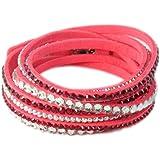 Bracelet Slake Wrap Strass brillant cristal double tour cuir de daim rose
