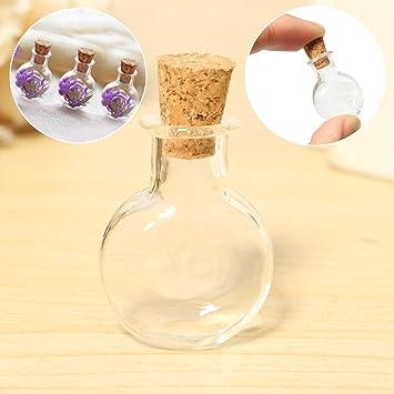 easyshop 1pc pequeños tarros vacÃos planas redondas botellas de vidrio deseo pendiente del frasco